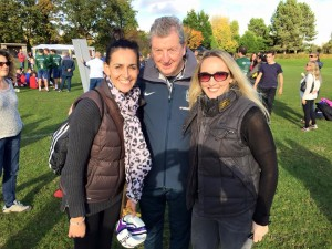 U11 soccer mums Aurelia and Clare with Roy Hodgson
