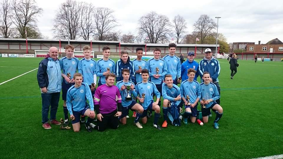 Cup Victors: U15 (SYL) With Coach Andy Barry and Manager Paul Sarney