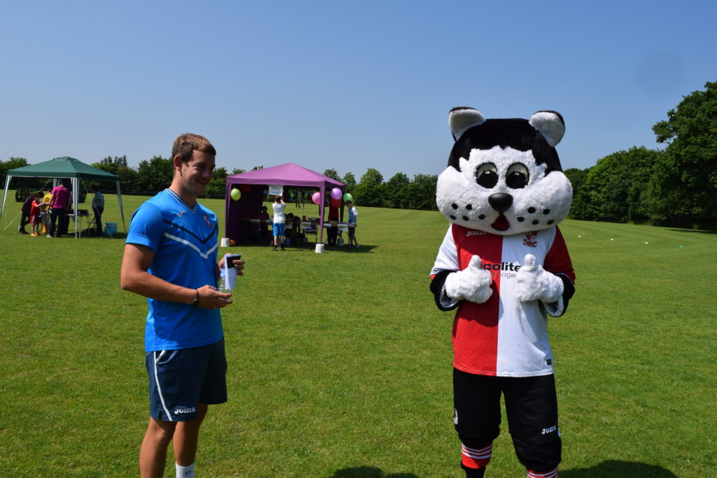 Kool for Kats....The KC Cat Mascot From Woking FC Was On Hand To Meet the Players